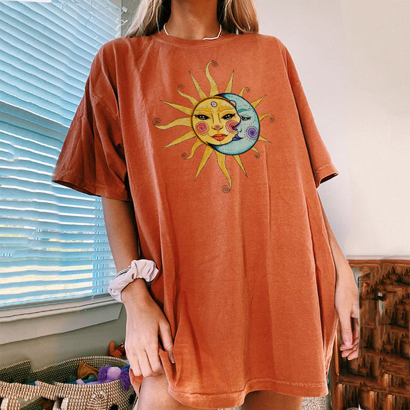 Vintage Orange Celestial Sun & Moon T-shirt