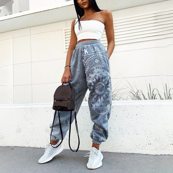 Women Print Loose Fitness Track Pants
