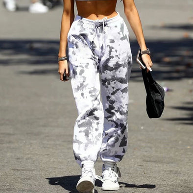 Autumn fashion trendy camouflage color black and white pattern casual sports pants women