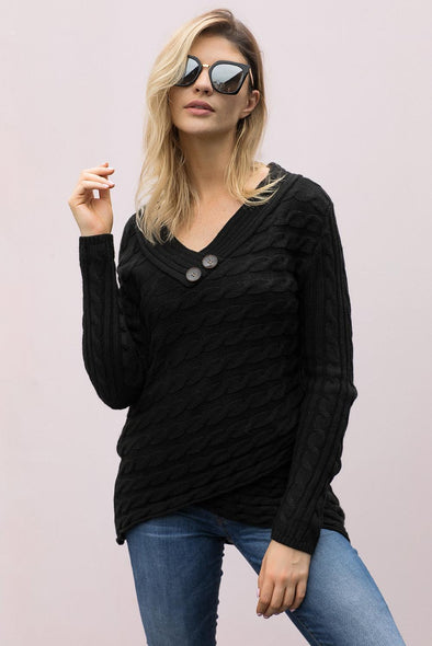 Buttoned Sweetheart Neck Cable Knit Sweater