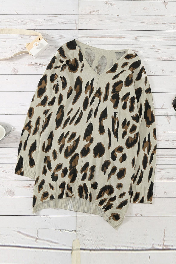 Women's Sweaters V Neck Leopard Knit Tunic Sweaters with Slits
