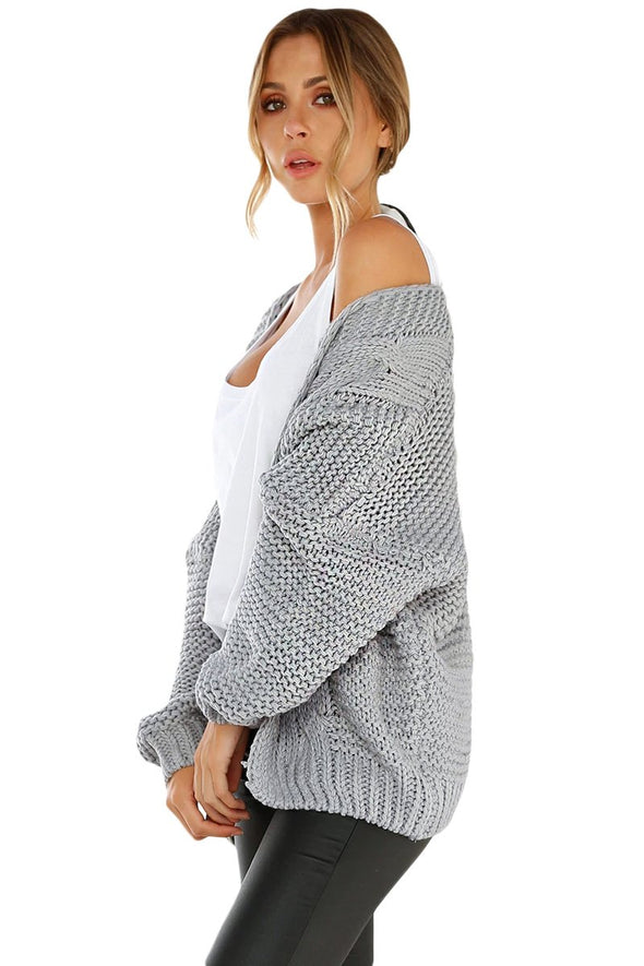 Women's Cardigans Chunky Wide Long Sleeve Knit Cardigan