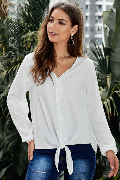 Button Up Long Sleeves Top with Front Tie