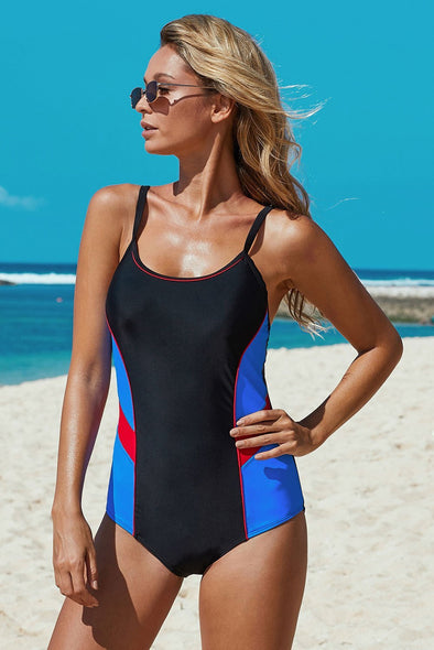 Athletic Color Block Spaghetti Straps One-piece Swimsuit