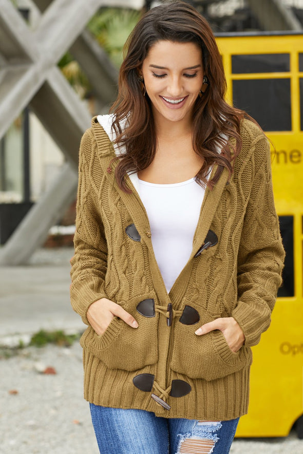 Women's Cardigans Fur Hooded Horn Button Knitted Cardigan