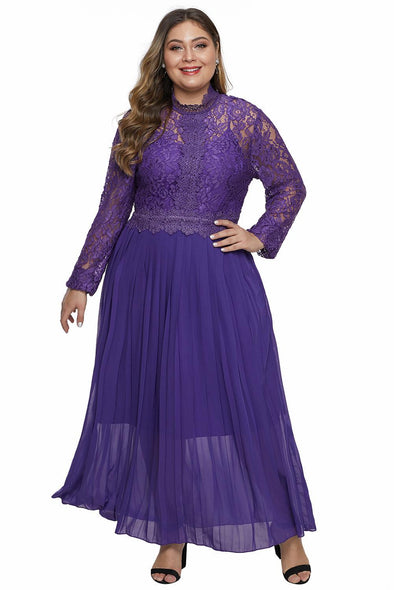 High Neck Long Sleeve Lace Top Plus Size Maxi Dress