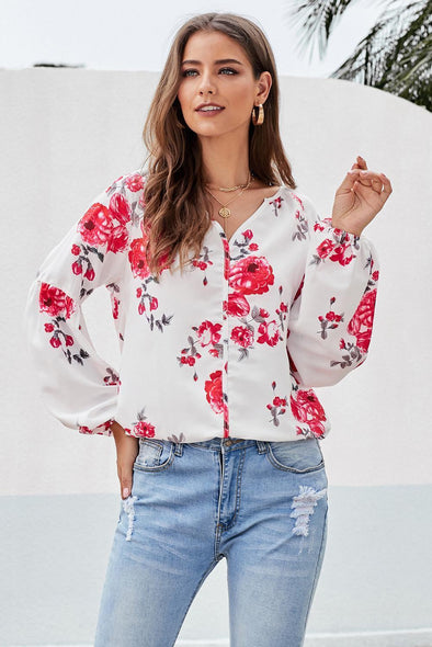 Ballon Sleeve Floral Shirt Top