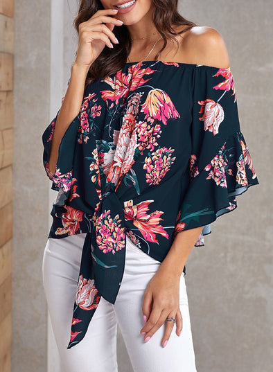 Off Shoulder Floral Tie Front High Low Chiffon Blouse