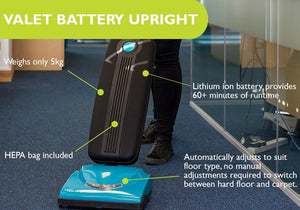 VALET UPRIGHT BATTERY VACUUM CLEANER - Ruck Engineering