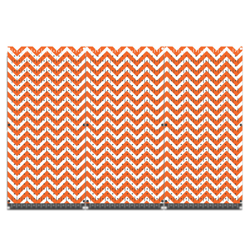 HWC13026- Chevron Orange & White | Printed Wall Control Pegboard by HangTime®