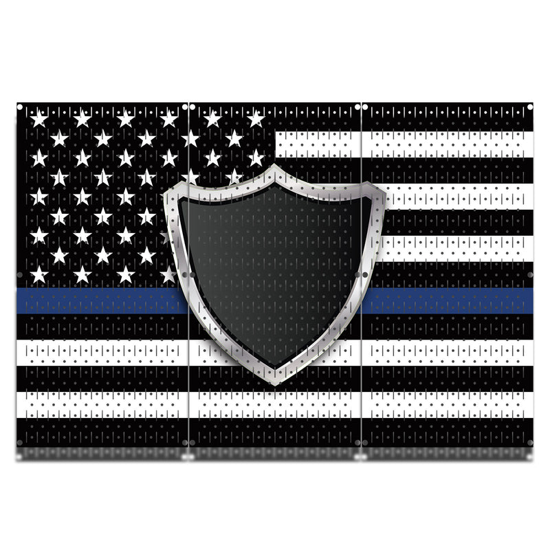 HWC13036 | Blue Line Police | Printed Wall Control Pegboard by HangTime®