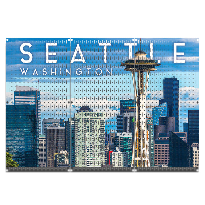 HWC13083 | Seattle City Scape | Printed Pegboard by HangTime®
