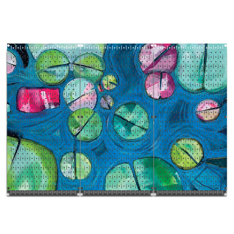 "HWC13119 - Lily Pads | Sarah Capps | She Paints All Night (3 Panels) | 48"" x 32"" (tall) 