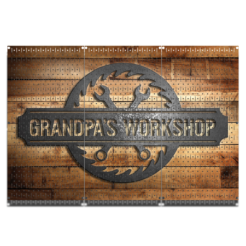 "HWC13124 Grandpa's Workshop (3 Panels) | 48"" x 32"" (tall) 