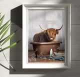 """Highland Cow in the Tub"" Print"