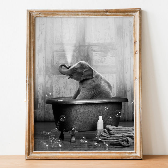 """Elephant in the Tub"" Print"