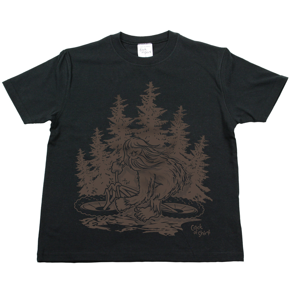 Sasquatch Bike! Youth Black T Shirt