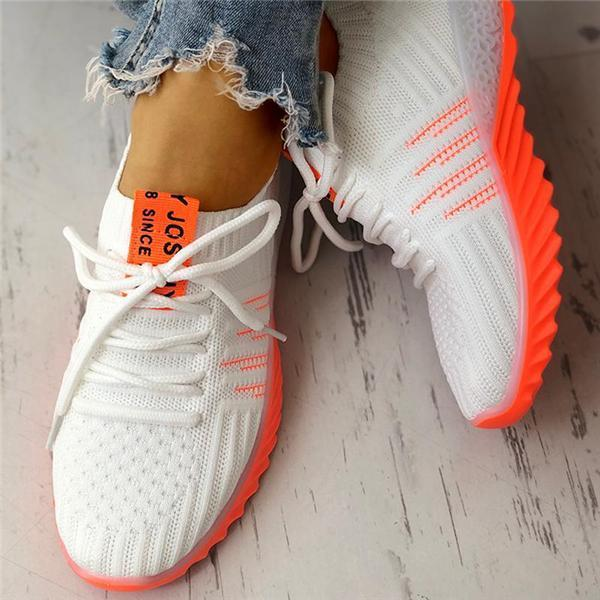 Faddishshoes Colorblock Knitted Breathable Lace-Up Sneakers