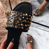 Faddishshoes Best Seller Gioni spiked studded black sandals