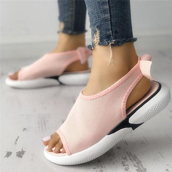 Faddishshoes Women Mesh Fabric Sandals Casual Breathable Bowknot Embellished Sandals