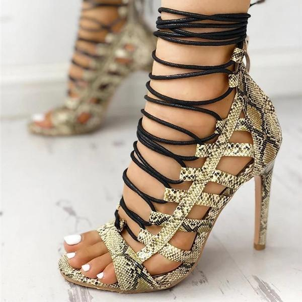 Faddishshoes Open Toed Lace-Up Thin Heeled Sandals