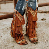 Faddishshoes Tassel Rivet Fashion Cowboy Boots