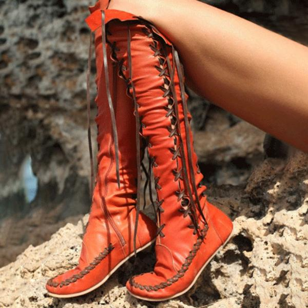 Faddishshoes Fashion Lace-Up High Flat Boots