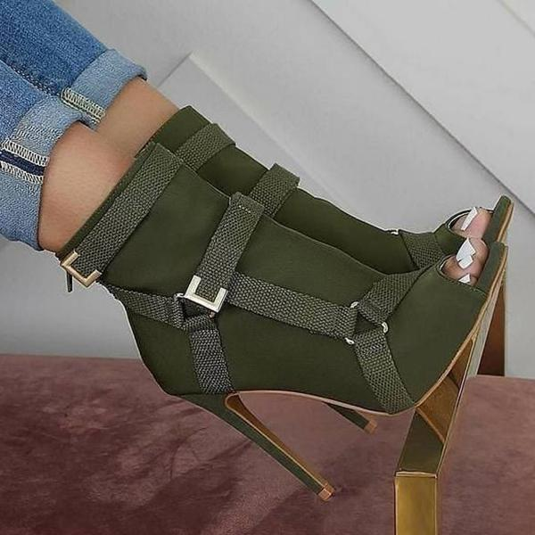 Faddishshoes Back Zip Peep Toe Stiletto Heel Ankle Boots