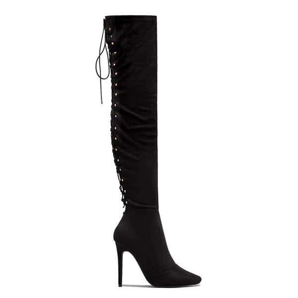 Faddishshoes Over The Knee Lace Up Back Boots