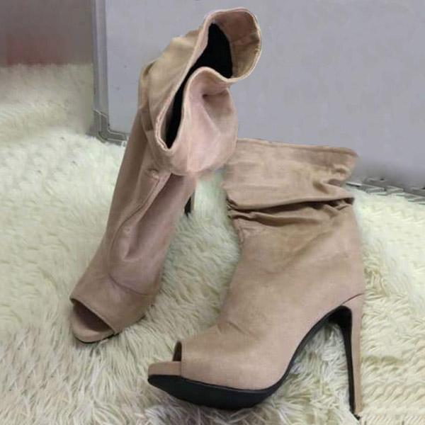 Faddishshoes Suede Fashion Open Toe Ankle Boots