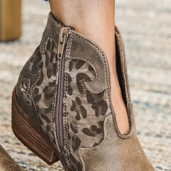 Faddishshoes Leopard Side Zipper Ankle Boots