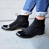 Faddishshoes Lace-up Suede Leather Stitching Boots