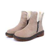 Faddishshoes Side Zipper Round Toe Ankle Snow Boots