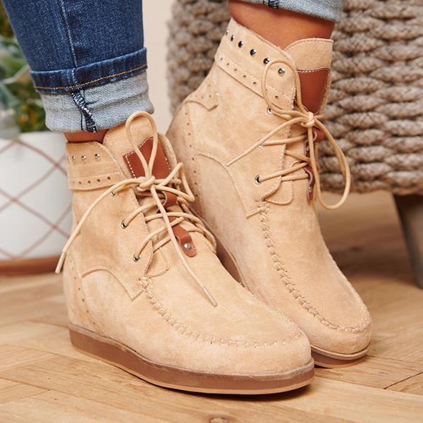 Faddishshoes Faux Suede Lace Up Booties