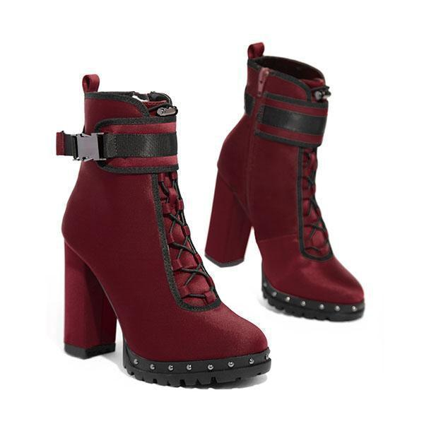 Faddishshoes Wine Red High Heel Boots