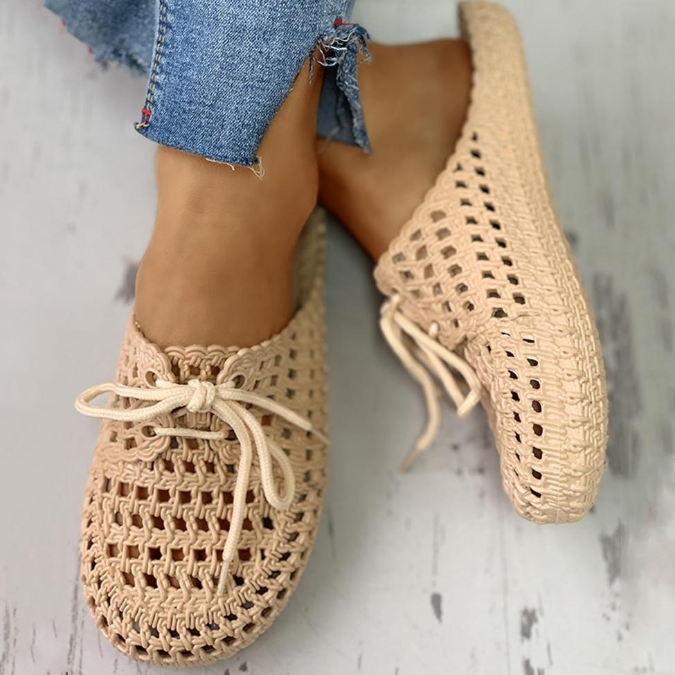 Faddishshoes Hollow Out Lace-Up Slippers For Women