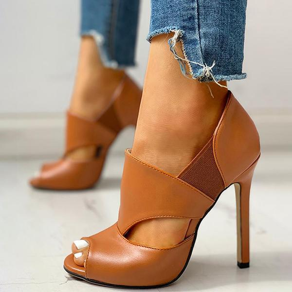 Faddishshoes Solid Hollow Out Design Peep Toe Thin Heels