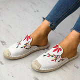Faddishshoes Fashion Embroidered Espadrille Flat Slippers