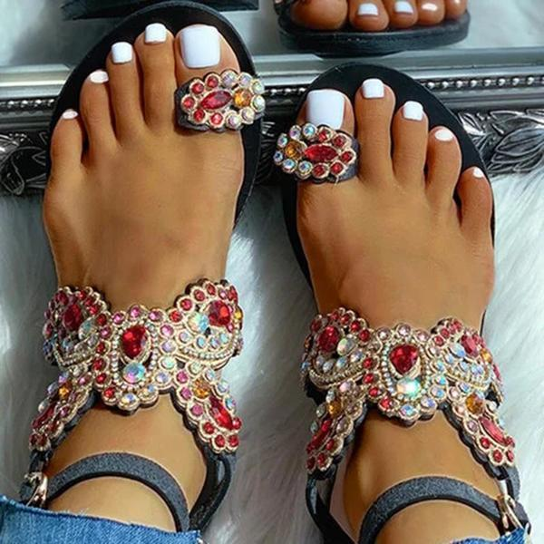 Faddishshoes Women Boho Toe Ring Studded Flower Pattern Flat Sandals