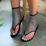 Faddishshoes Fishnet Flat Heel Sandals