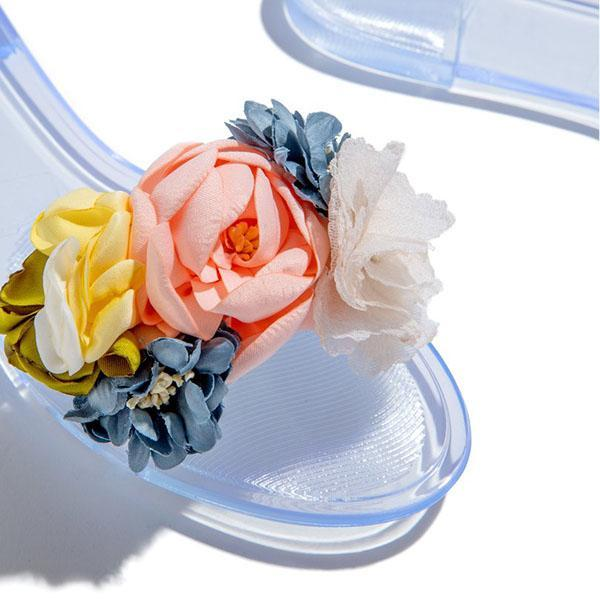Faddishshoes Multi-Color Floral Clear Jelly Sandals