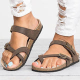 Faddishshoes Leather Strap Buckle Flats Sandals