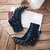 Faddishshoes Women Chunky Heel Pointed Toe Boots