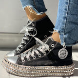 Faddishshoes Fashion Leopard Rivet Embellished Lace-Up Sneakers
