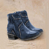 Faddishshoes Vintage Zipper Boots Fashion Block Heel Boots