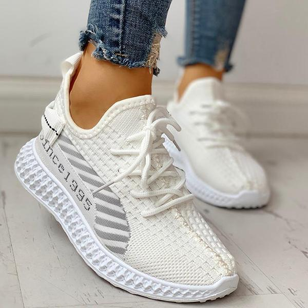 Faddishshoes Lace-Up Breathable Casual Sneakers