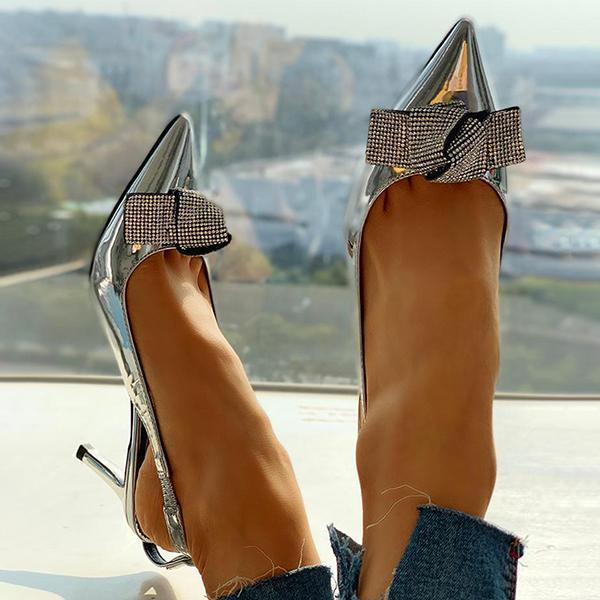 Faddishshoes Pointed Toe Studded Bowknot Slingback Thin Heels