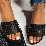 Faddishshoes Studded Spiked Strap Lightly Padded Insole Slippers