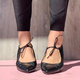 Faddishshoes Point Toe Lace-Up Flats Sandals