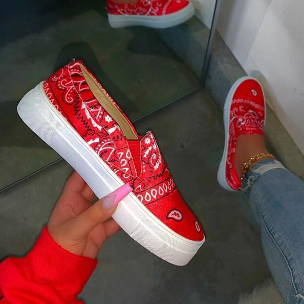 Faddishshoes Fashion Slip on Printed Loafers/Sneakers